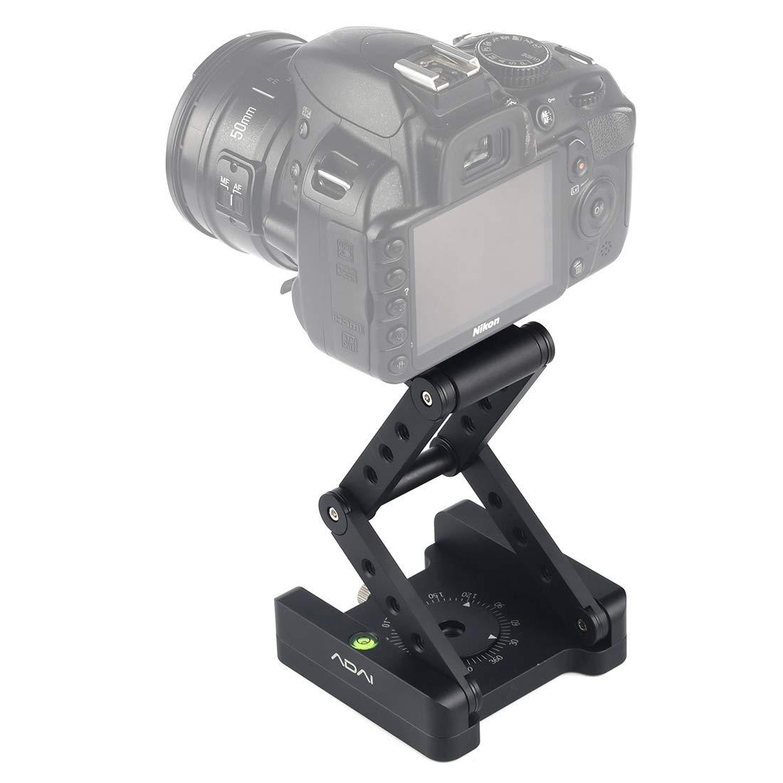 カメラ用 360度回転3折りたたみCNCアルミニウムクイックリリースプレートホルダー三脚Mフレックスチルトボールヘッド カメラアクセサリー (Color : ブラック)   B07QS2RCBG