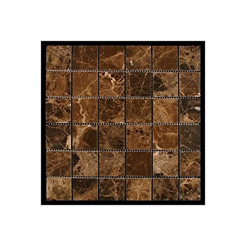 Emperdaor 2x2 POLISHED Mosaic Tiles on 12x12 Sheet for Backsplash, Shower Walls, Bathroom Floors Marble ' n things