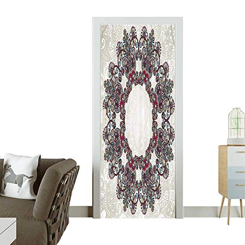 Homesonne Decorative Door Decal Ornamental Aztec Folkloric Mandala Patterns Body and Symbol Mosaic Style Trib Stick The Picture on The doorW31 x H79 INCH