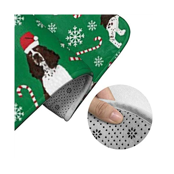 Tina6qfhgx English Springer Spaniel Santa Christmas Bathroom Contour Rugs Combo Set of Soft Shaggy Non Slip Bath Shower Mat and U-Shaped Toilet Floor Rug 4