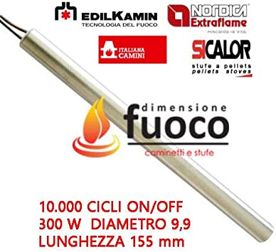 Resistencia Bujía Encendido para estufa de pellets 300 W 155 mm; Diámetro 9,9 mm; para EDILKAMIN