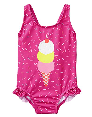 Gymboree Baby Girls 1-Piece Swimsuit With Bow Accent, Berry Sprinkles, - Berry Sprinkles