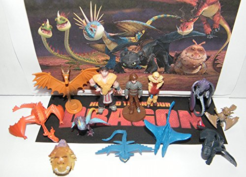 How To Train Your Dragon Figure Set of 12 Mini Toys Party Favors with many Dragons, People and New Characters! Dragon Mini Figure