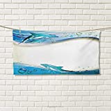 Chaneyhouse Ocean,Travel Towel,Illustration of Cute Dolphins on Sea Waves with Water Drops Framework Abstract,Quick-Dry Towels,Beige Blue Aqua Size: W 14'' x L 27.5''