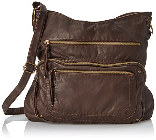 T-Shirt & Jeans Washed Cross Body Bag with Front Pockets, Brown, One Size