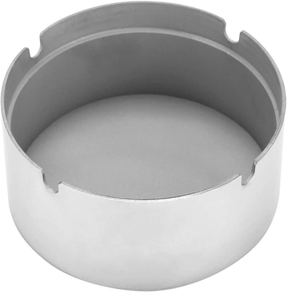 stronerliou High-grade Stainless Steel Wind-proof Round Revolving Ashtray with Spinning Tray for Hotel