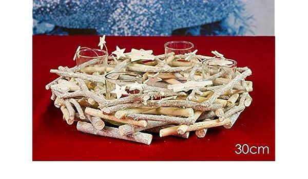 Centro de mesa navideño de madera con 4 portavelas - Bohemio, chic ...