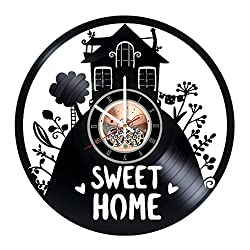 Home Sweet Home Vinyl Record Wall Clock - Home room or Living Room wall decor - Gift ideas for friends, parents - Unique Art Design
