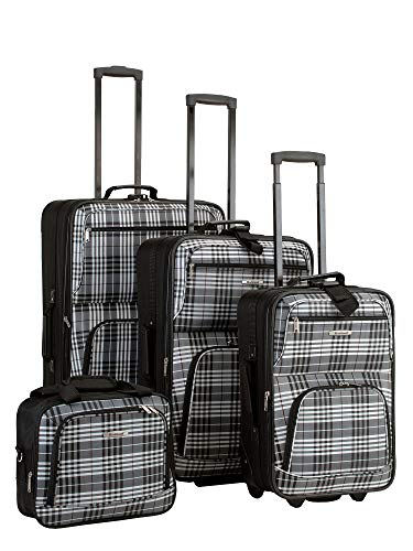 4 Piece Luggage Set - Pattern: Black Plaid