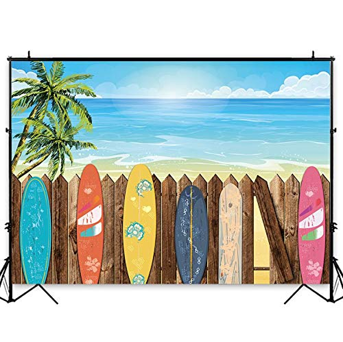 Funnytree 7X5FT Summer Beach Surfboard Photography Backdrop Hawaiian Luau Seaside Palm Background for Vacation Wedding Birthday Baby Shower Party Banner Decor Photo Studio Photobooth Props]()