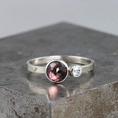 - 14k White Gold Two Stone Ring with Purple Rose Cut Tourmaline and White Topaz