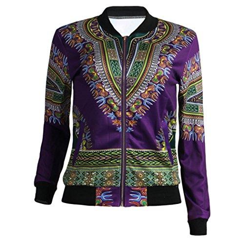 Dashiki Long Windbreaker Purple Coat Autumn African Zip HLHN Print Casual Jacket Women Pockets Sleeve wxqpzXIg