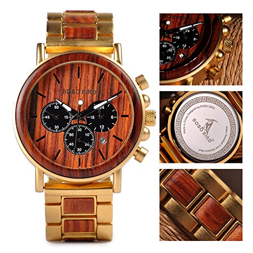 Wooden Watches for Men Multi-Functional Natural Sandalwood and Stainless Quartz Analog Date Wrist Watch Butterfly Clasp and 8.7in Long Band with Wooden Gift Box