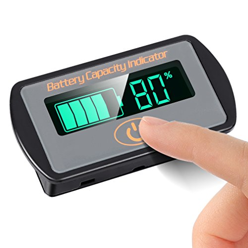 Icstation DC 5-30V Lead Acid Battery Tester 12V 24V LCD Digital Battery Voltage Capacity Monitor Panel Gauge Lithium Battery Status Indicator Universal Car Vehicle Auto Electric Quantity Detect