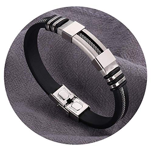 Ink White Stainless Steel Silicone Black Bracelet Punk Style Men Simple Rubber Charm Bracelet,Silver Plated