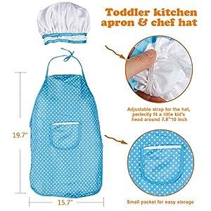 D-FantiX Kids Kitchen Accessories Set, Pretend Play Kitchen Toys Pots and Pans Playset Cooking Set, Utensils, Apron and…