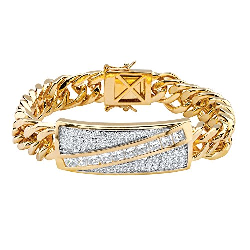 Men's Square-Cut and Pave White Cubic Zirconia 14k Gold-Plated Diagonal Curb-Link Bracelet - Square Pave Link