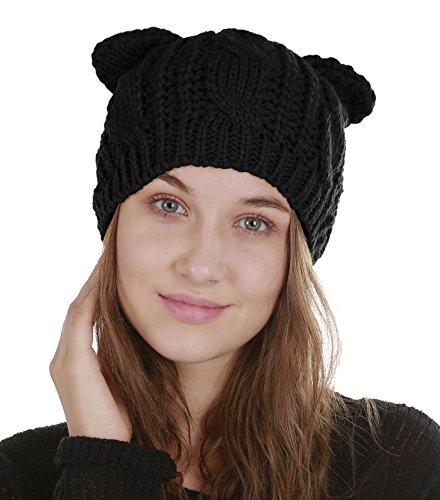 Urban CoCo Women's Winter Knitted Hat Crochet Cat Ear Beanie Cap (Black) (Crochet Cat Hat)