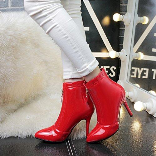 YE Damen Spitze High Heels Stiletto Lack Stiefeletten mit 10cm Absatz Ankle Boots mit Reißverschluss Elegant Schuhe Rot