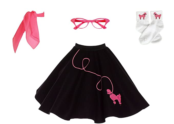 Kids 1950s Clothing & Costumes: Girls, Boys, Toddlers Hip Hop 50s Shop 4 Piece Child Poodle Skirt Costume Set $50.86 AT vintagedancer.com