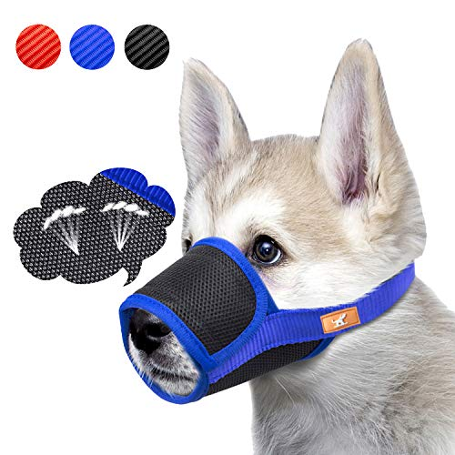 (Breathable Dog Muzzle Mesh Mask Stop Biting, Barking and Chewing, Cover with Hook & Loop for Dogs, Adjustable(S,Blue))