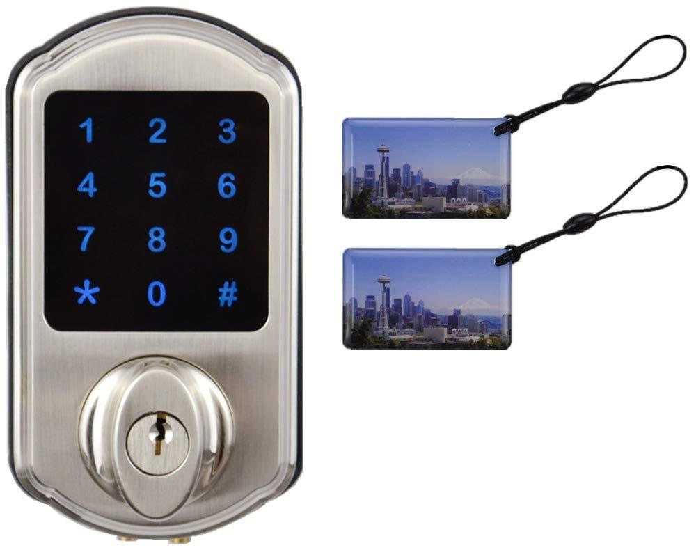 SCYAN D2 Touchscreen Keypad Deadbolt with Key Fob Access, Satin Nickel by SCYAN