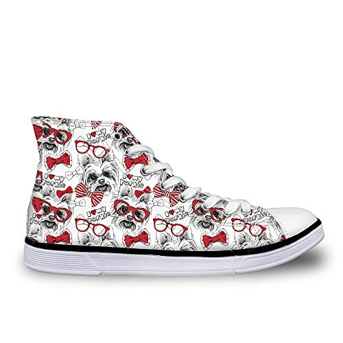 Adorable Yorkie - HUGS IDEA Cute Yorkie Puppies Pattern Women's High Top Canvas Shoes Adorable Girls Athletic Sneakers Footwear