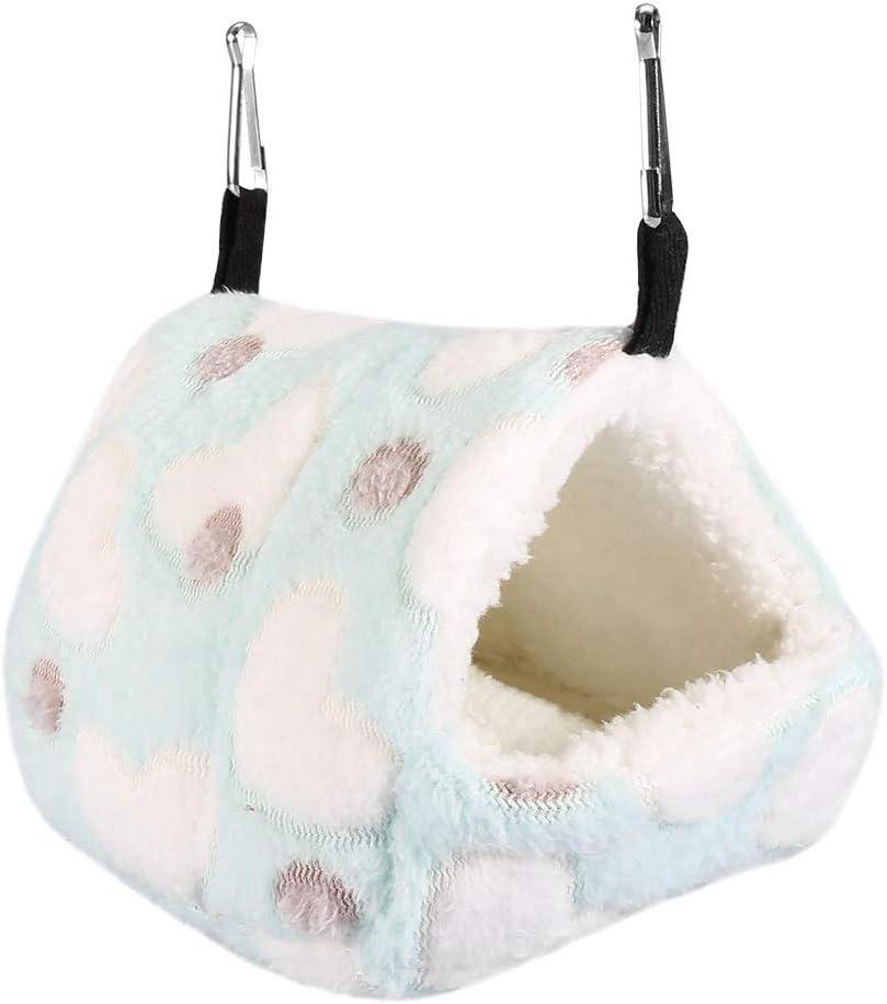 Mumusuki Cálida y acogedora Cama de Jaula de casa para Mascotas Suave y cálida de Invierno para Hamaca Ardilla Totoro Conejo(14 * 12-Azul)