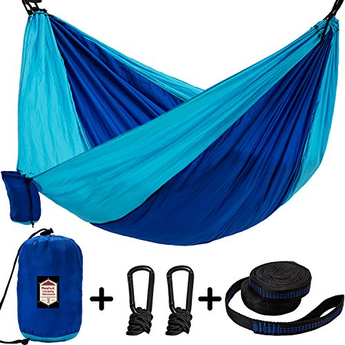 REEHUT Double Camping Hammock Tree Hammock Lightweight Nylon Parachute Fabric with 2 Adjustable Hanging Straps Portable Indoor Outdoor for Backpacking, Travel, Beach, Backyard, Hiking