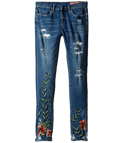 Blank NYC Kids Girl's Denim Embroidered Skinny in Speak Easy (Big Kids) Blue Jeans