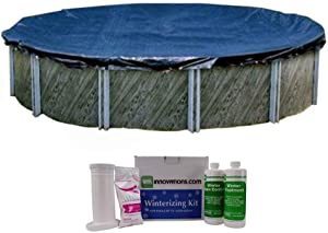 Intex Swimline 24 Foot Round Above Ground Pool Cover with Winterizing Chemical Kit