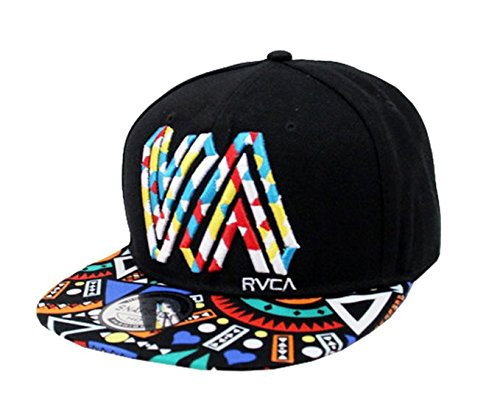 Doture Mens Fashion VA Muliticor Print 6 Panel Street Dancing Hat Baseball Cap Black
