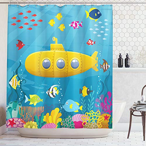 Ambesonne Yellow Submarine Shower Curtain Set, Coral Reef with Colorful Fish Ocean Life Marine Creatures Tropical Kids, Fabric Bathroom Decor with Hooks, 70 Inches, Blue Yellow