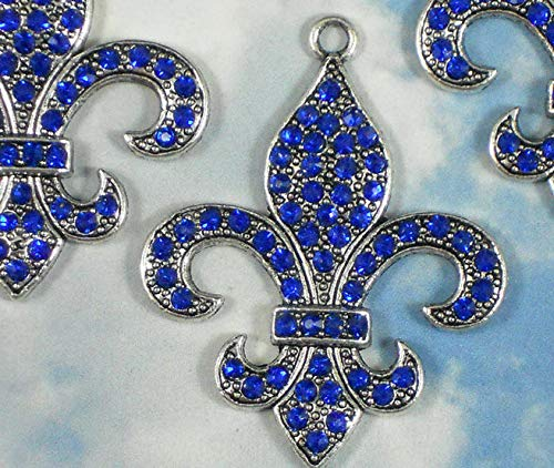 1 Sapphire Blue Fleur de Lis Pendant Rhinestone Crystal Silver Tone 46mm Vintage Crafting Pendant Jewelry Making Supplies - DIY for Necklace Bracelet Accessories by CharmingSS