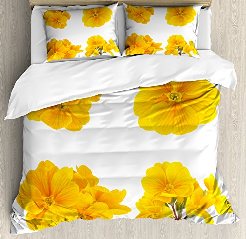 (Ambesonne Yellow Flower Duvet Cover Set, Gardening Themed Pattern with Little Tender Primrose Primula Blossoms, Decorative 3 Piece Bedding Set with 2 Pillow Shams, King Size, Mustard White)