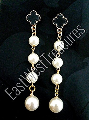 (Long Ball Pearl drop four leaf clover earrings for women-Four leaf clover jewelry gifts )