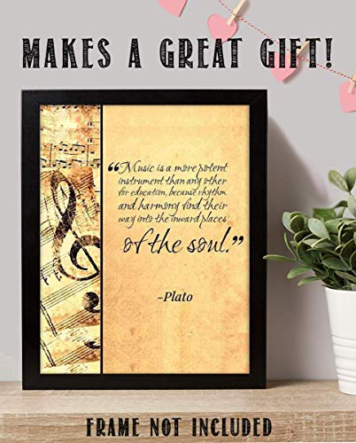 Amazon Com Plato Quotes Wall Art Music Finds Its Way Into Our Soul 8 X 10 Art Wall Print Ready To Frame Modern Home Decor Studio Office Decor Makes A Perfect Gift