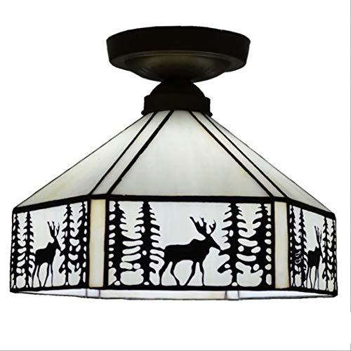 Ceiling Lamp Tiffany Style Antique Balcony Ceiling Pendant Fixture Sika Deer Art Glass Lamps 6-Sided Lampshade with Bronze Accessories