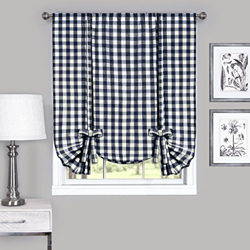 ck Plaid Gingham Custom Fit Window Curtain Treatments By Assorted Colors, Styles & Sizes (Tie Up Shade, Navy) (Border Blue Gingham)