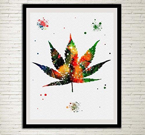 Marijuana Leaf Watercolor Print Cannabis Modern Home Decor Wall Decor Smoker Gift Wall Hanging