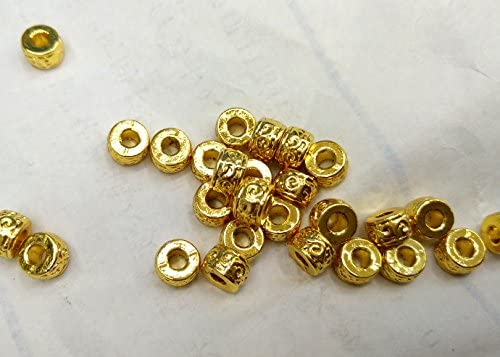 50pcs Real 14K Gold Plated Matte Brass Beads Flat Round Metal Loose Spacer 6x3mm