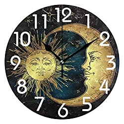 Dozili Antique Style Golden Sun Crescent Moon and Stars Print Round Wall Clock Arabic Numerals Design Non Ticking Wall Clock Large for Bedrooms,Living Room,Bathroom