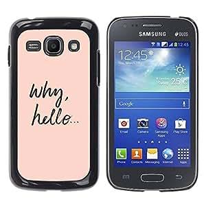 TopCaseStore / la caja del caucho duro de la cubierta de protección de la piel - Cutie Cute Text Smart Peach - Samsung Galaxy Ace 3 GT-S7270 GT-S7275 GT-S7272
