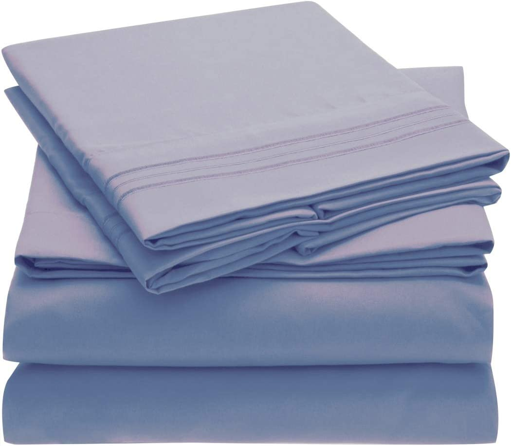 Mellanni Bed Sheet Set - Brushed Microfiber 1800 Bedding - Wrinkle, Fade, Stain Resistant - 3 Piece (Twin XL, Blue Hydrangea)