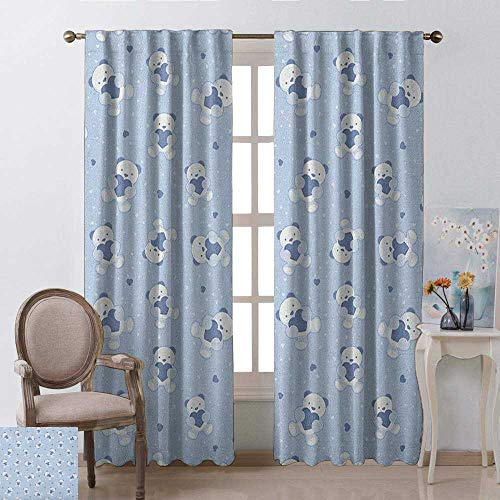 youpinnong Boys, Curtains Set of 2, Teddy Bears on Blue Backdrop Holding Hearts Baby Shower Theme Toddler, Curtains Kids, W72 x L108 Inch, Baby Blue Cadet Blue White