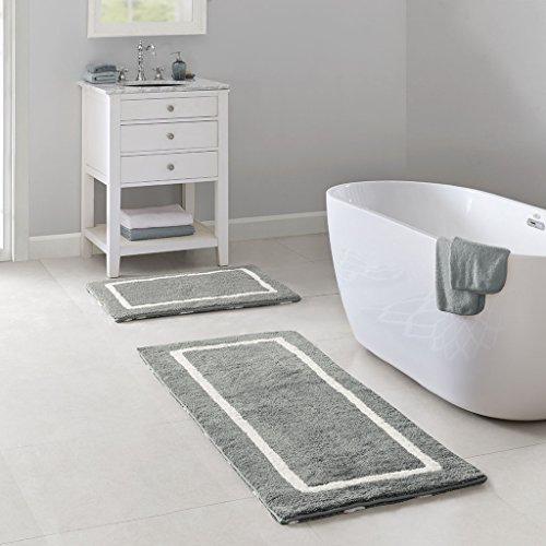 Madison Park Bittman Reversible High Pile Tufted Microfiber Bath Mat Bathroom Rugs, 21x34, Grey