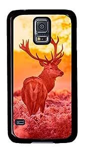 Diy Fashion Case for Samsung Galaxy S5,Black Plastic Case Shell for Samsung Galaxy S5 i9600 with Deer Under The Sunset Warm Forest Grass