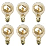 Newhouse Lighting G25 Incandescent Thomas Edison Filament Globe Light Bulb, 6-Pack For Sale