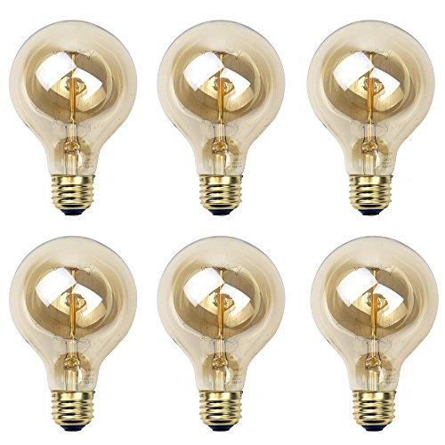 Newhouse Lighting G25 Incandescent Thomas Edison Filament Globe Light Bulb, 6-Pack For Sale