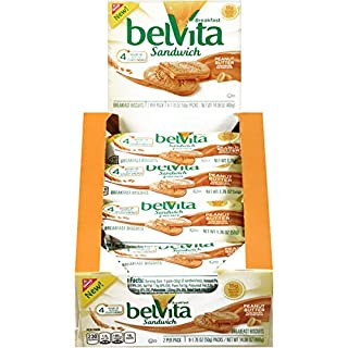 belVita Peanut Butter Sandwich Breakfast Biscuits, 8 Count per Box, 14.08 Oz, Pack of 8